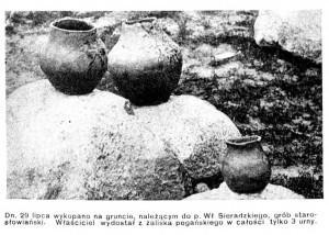 2. Urny z grobu starosłowiańskiego odkryte w 1908 r. w okolicach Jeziornej. [w:] Świat 1908 (R.3) nr 32, s. 17