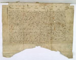 Dokument z dnia 22 kwietnia 1253 r. sporządzony w Cieciszewie przez podkanclerza Tomasza potwierdzający akt sprzedaży wsi Rozdziałowo. Archiwum Diecezjalne w Płocku